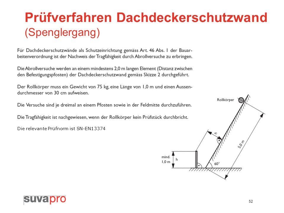 Prüfverfahren Dachdeckerschutzwand (Spenglergang)