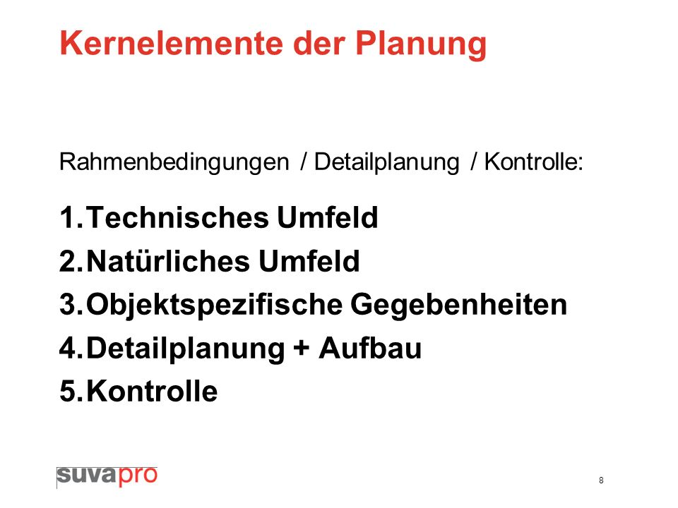 Kernelemente der Planung
