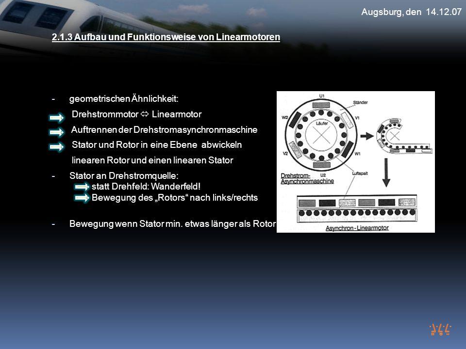 Augsburg, den 14.12.07 2.1.3 Aufbau und Funktionsweise von Linearmotoren. geometrischen Ähnlichkeit: