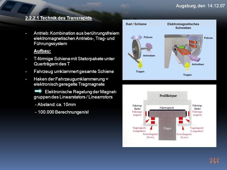 Augsburg, den 14.12.07 2.2.2.1 Technik des Transrapids.
