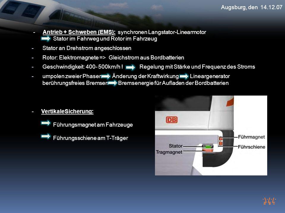 Augsburg, den 14.12.07 - Antrieb + Schweben (EMS): synchronen Langstator-Linearmotor Stator im Fahrweg und Rotor im Fahrzeug.