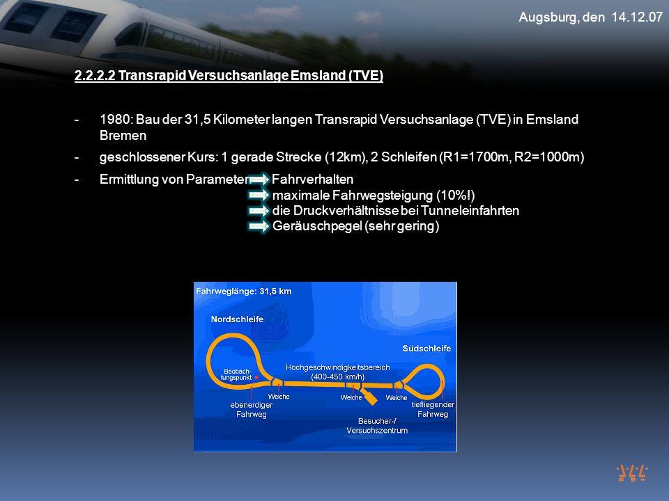 Augsburg, den 14.12.07 2.2.2.2 Transrapid Versuchsanlage Emsland (TVE)