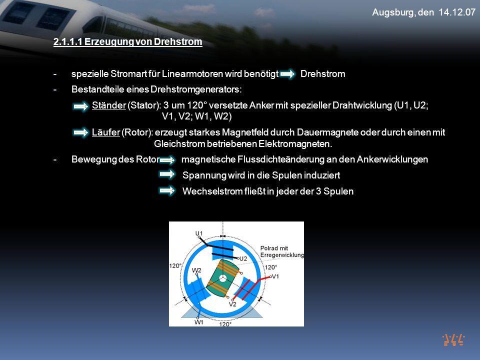 Augsburg, den 14.12.07 2.1.1.1 Erzeugung von Drehstrom. spezielle Stromart für Linearmotoren wird benötigt Drehstrom.