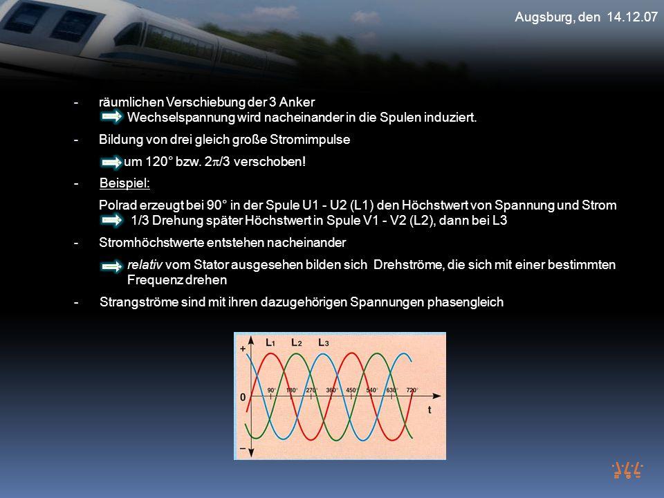 Augsburg, den 14.12.07 räumlichen Verschiebung der 3 Anker Wechselspannung wird nacheinander in die Spulen induziert.