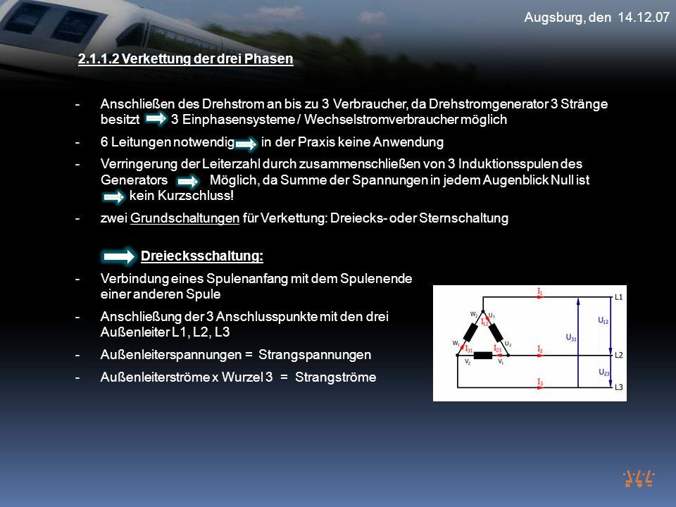 Augsburg, den 14.12.07 2.1.1.2 Verkettung der drei Phasen.