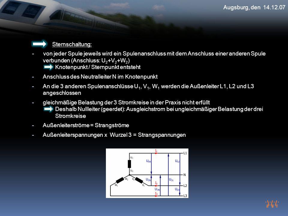 Augsburg, den 14.12.07 Sternschaltung: