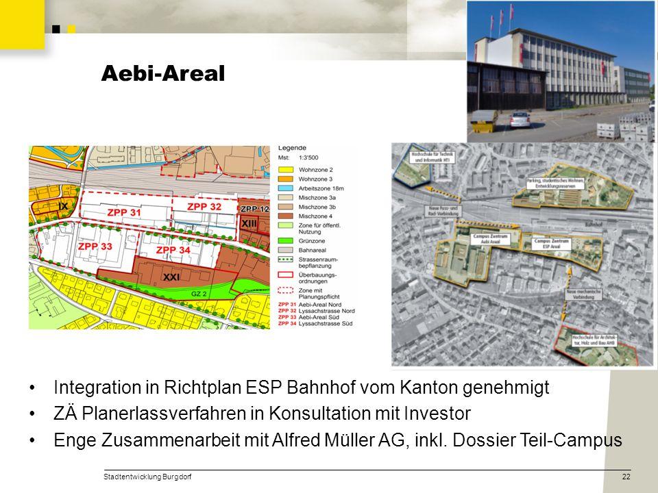 Aebi-Areal Integration in Richtplan ESP Bahnhof vom Kanton genehmigt
