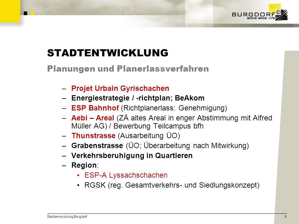 STADTENTWICKLUNG Planungen und Planerlassverfahren