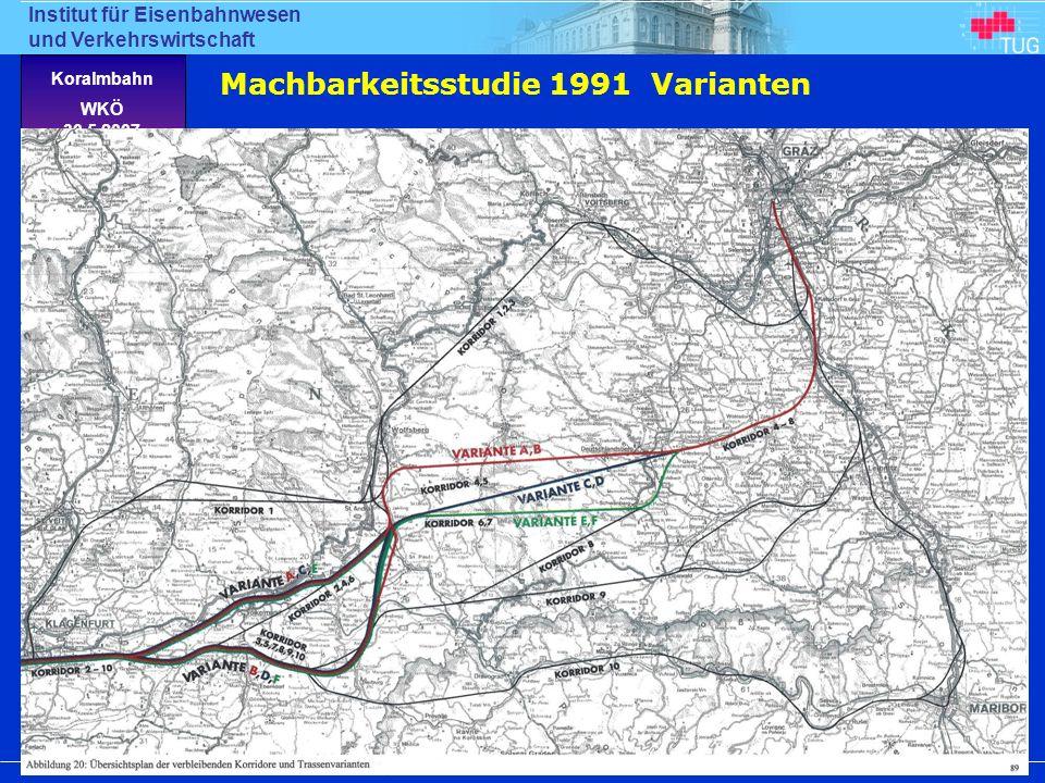 Machbarkeitsstudie 1991 Varianten