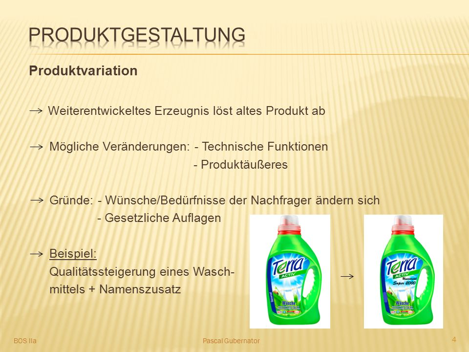 produktgestaltung Produktvariation