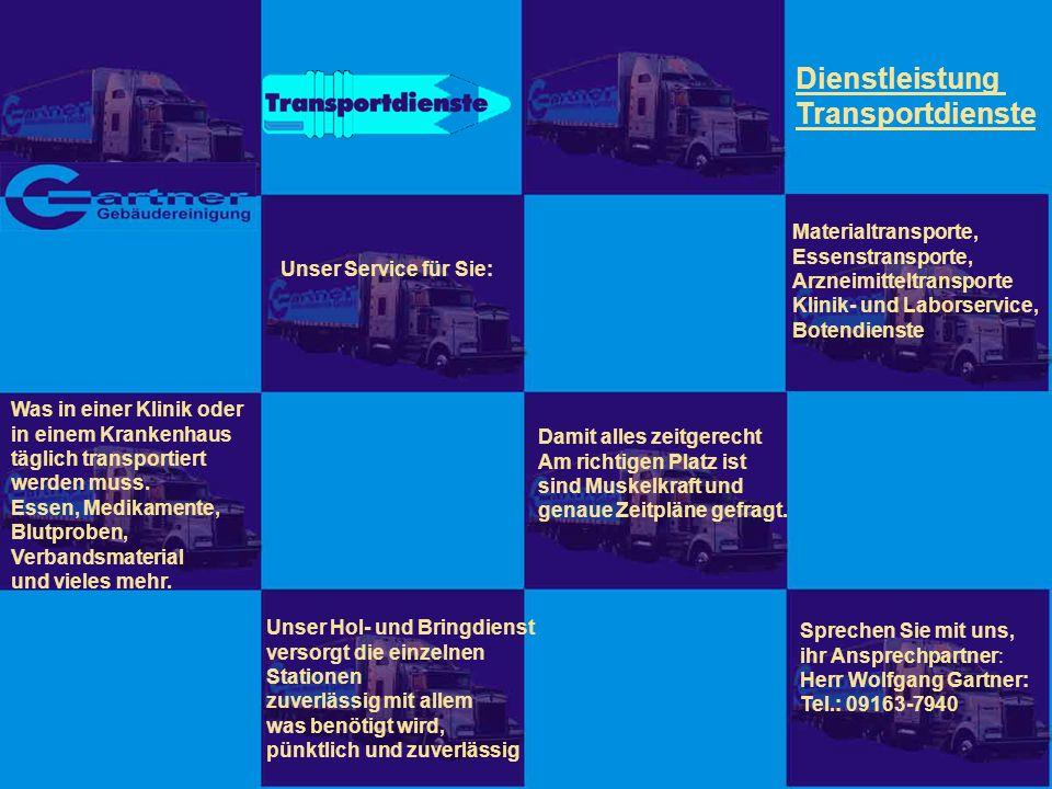 Dienstleistung Transportdienste Materialtransporte, Essenstransporte,