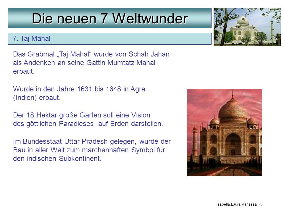 Die neuen 7 Weltwunder 7. Taj Mahal