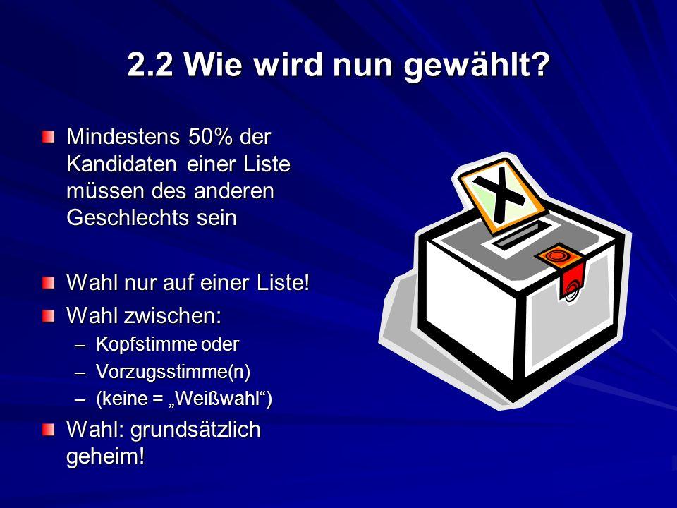 2.2 Wie wird nun gewählt Mindestens 50% der Kandidaten einer Liste müssen des anderen Geschlechts sein.
