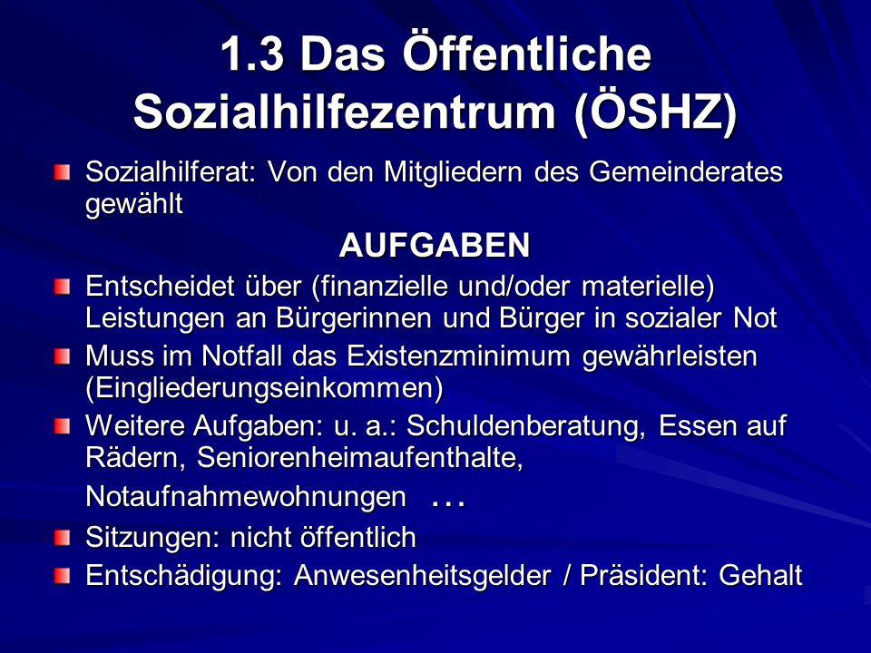 1.3 Das Öffentliche Sozialhilfezentrum (ÖSHZ)