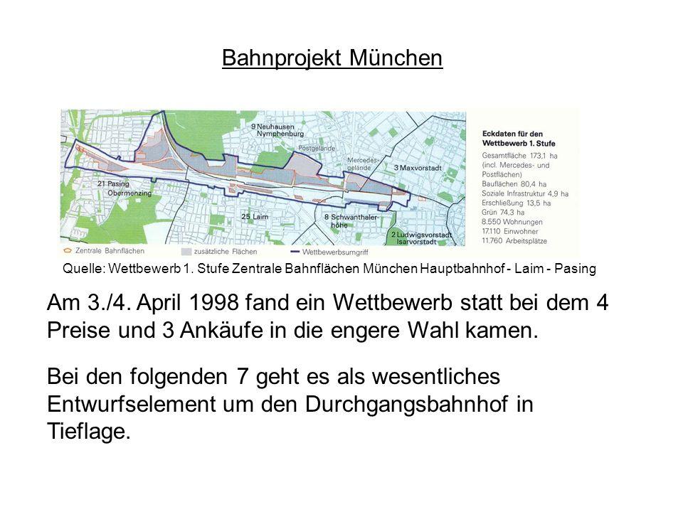 Bahnprojekt München Quelle: Wettbewerb 1. Stufe Zentrale Bahnflächen München Hauptbahnhof - Laim - Pasing.