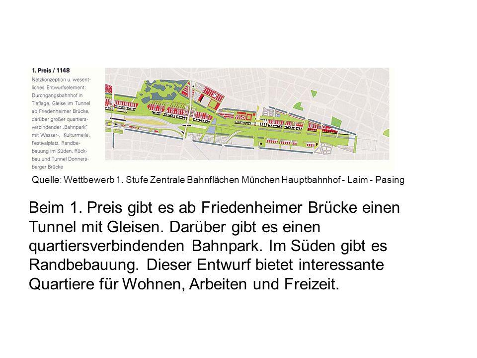 Quelle: Wettbewerb 1. Stufe Zentrale Bahnflächen München Hauptbahnhof - Laim - Pasing