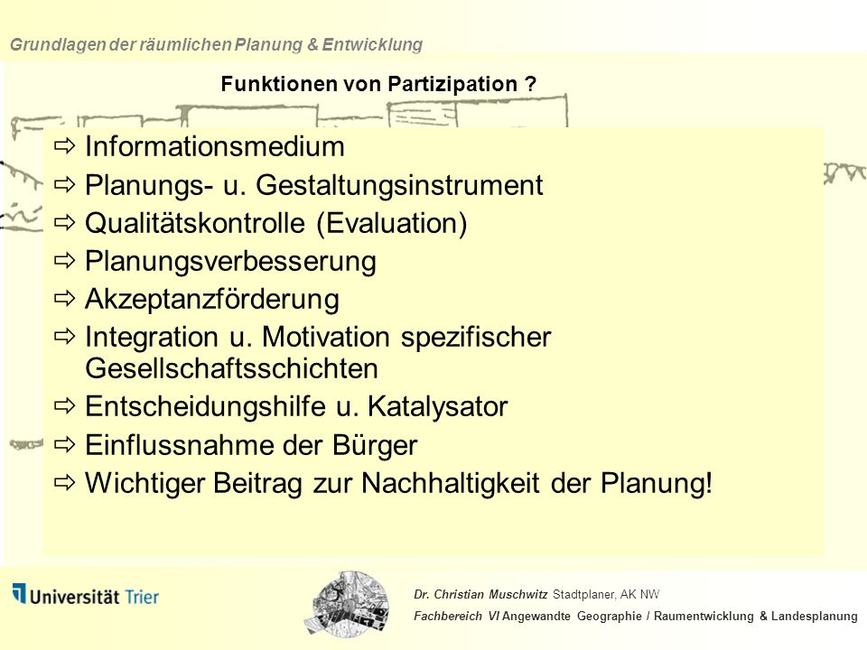 Funktionen von Partizipation