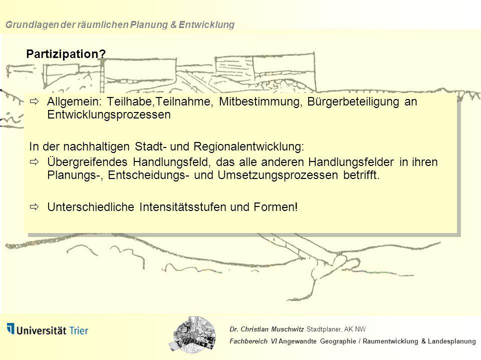 Partizipation Allgemein: Teilhabe,Teilnahme, Mitbestimmung, Bürgerbeteiligung an Entwicklungsprozessen.