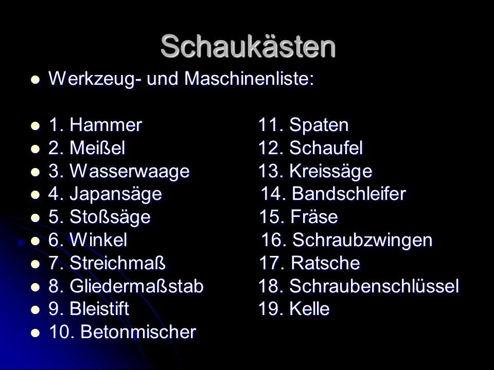 Schaukästen Werkzeug- und Maschinenliste: 1. Hammer 11. Spaten