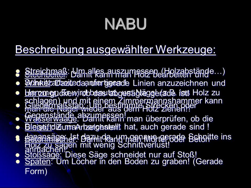 NABU Beschreibung ausgewählter Werkzeuge: