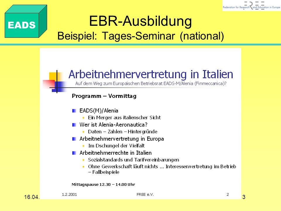 EBR-Ausbildung Beispiel: Tages-Seminar (national)