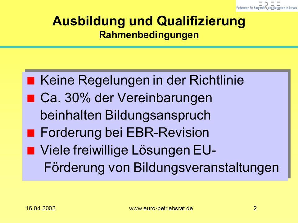 Ausbildung und Qualifizierung Rahmenbedingungen