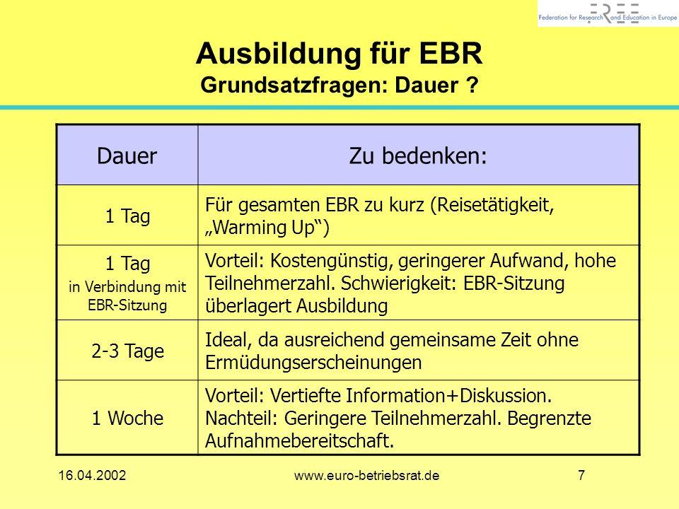 Ausbildung für EBR Grundsatzfragen: Dauer