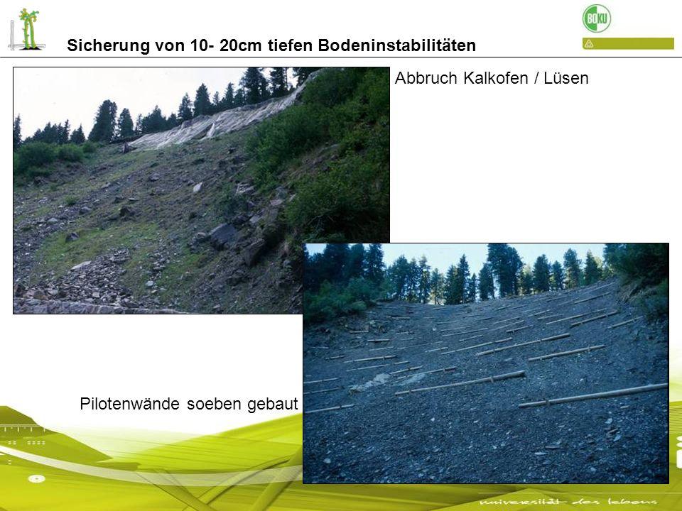 Sicherung von 10- 20cm tiefen Bodeninstabilitäten