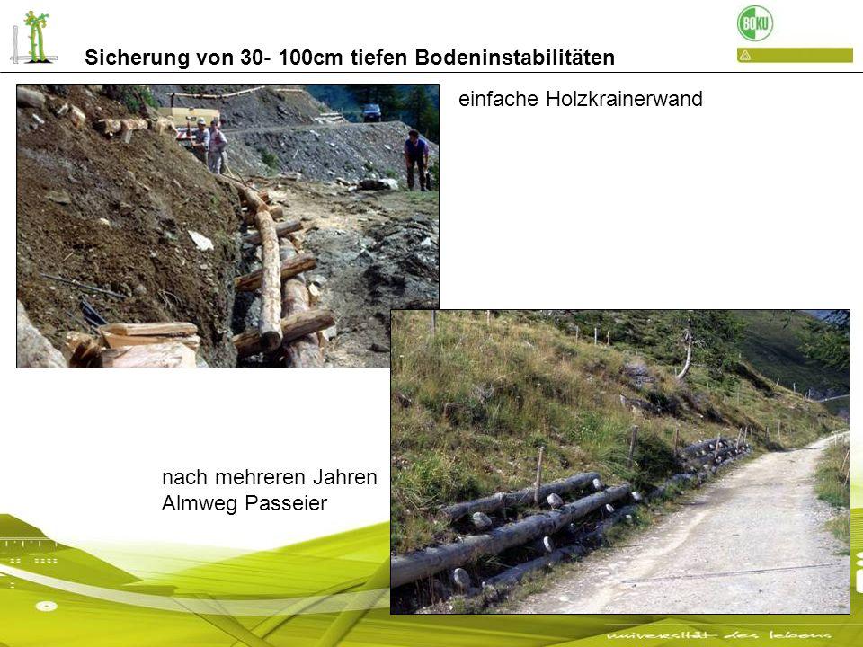 Sicherung von 30- 100cm tiefen Bodeninstabilitäten