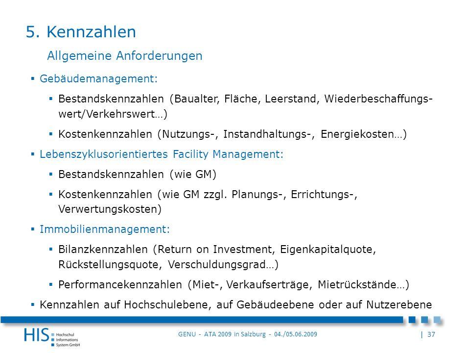 5. Kennzahlen Allgemeine Anforderungen Gebäudemanagement: