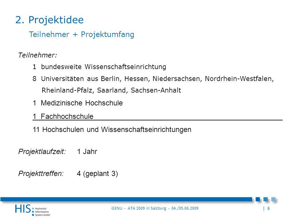 2. Projektidee Teilnehmer + Projektumfang 1 Medizinische Hochschule