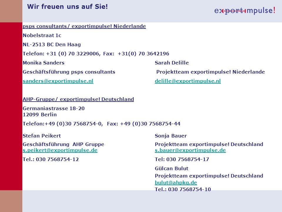 Wir freuen uns auf Sie! psps consultants/ exportimpulse! Niederlande