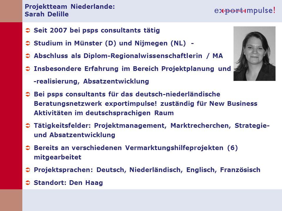 Projektteam Niederlande: Sarah Delille