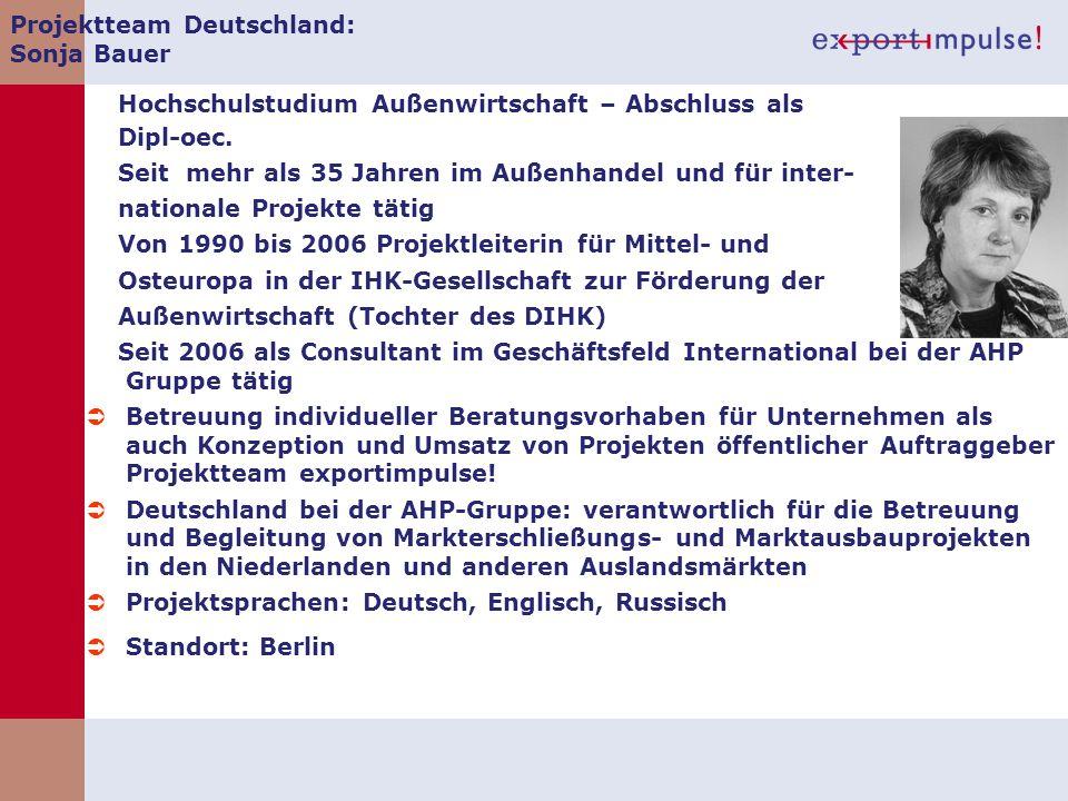 Projektteam Deutschland: Sonja Bauer