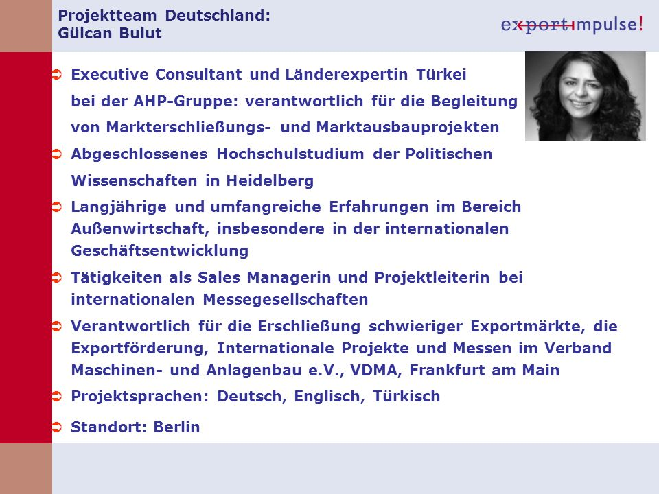Projektteam Deutschland: Gülcan Bulut