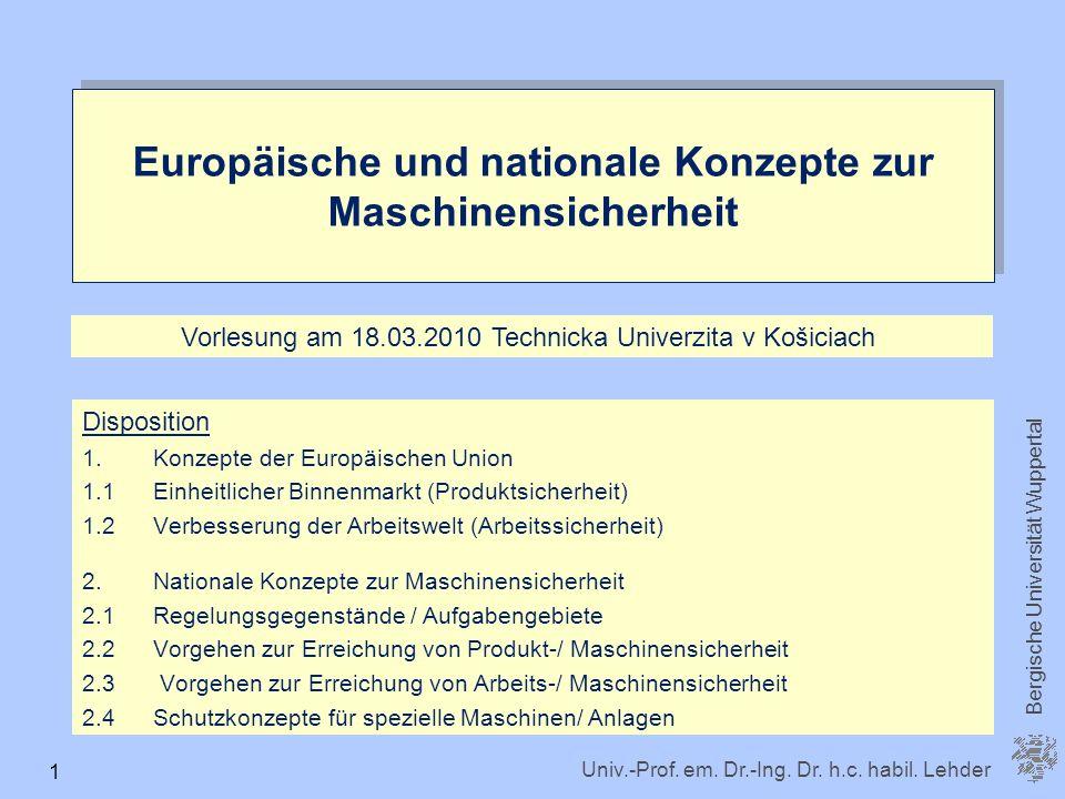 Europäische und nationale Konzepte zur Maschinensicherheit