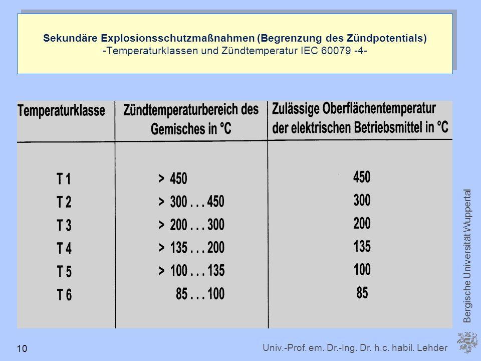 Sekundäre Explosionsschutzmaßnahmen (Begrenzung des Zündpotentials) -Temperaturklassen und Zündtemperatur IEC 60079 -4-