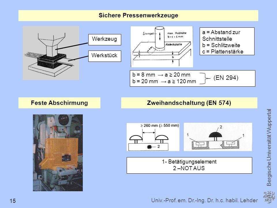Sichere Pressenwerkzeuge Zweihandschaltung (EN 574)