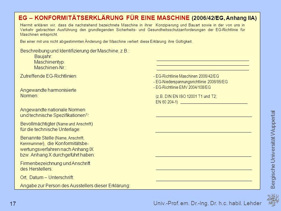 EG – KONFORMITÄTSERKLÄRUNG FÜR EINE MASCHINE (2006/42/EG, Anhang IIA)