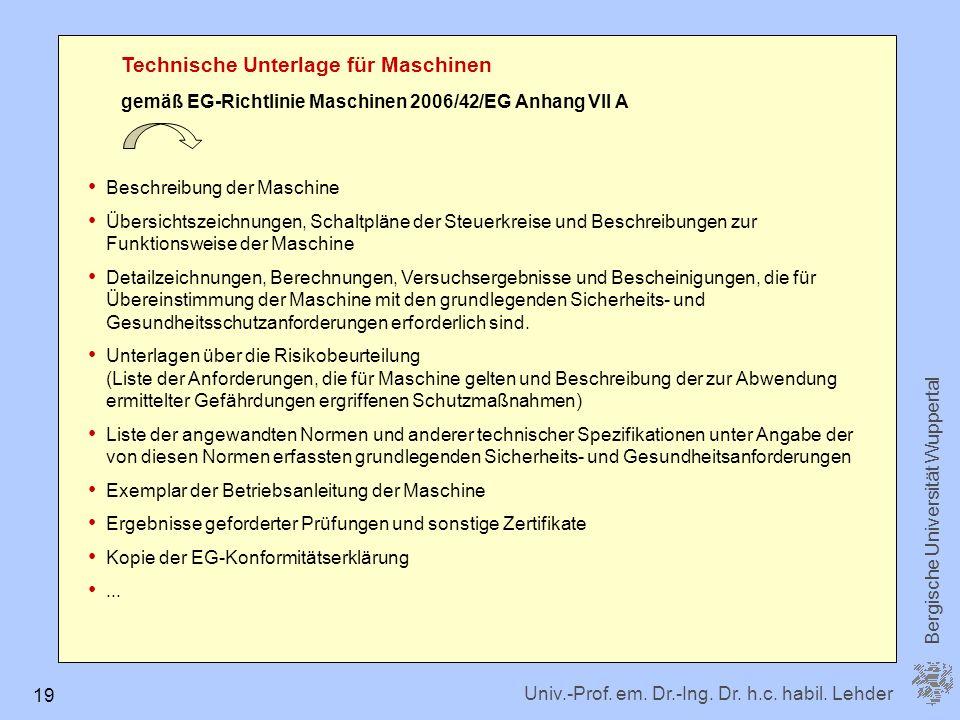 Technische Unterlage für Maschinen