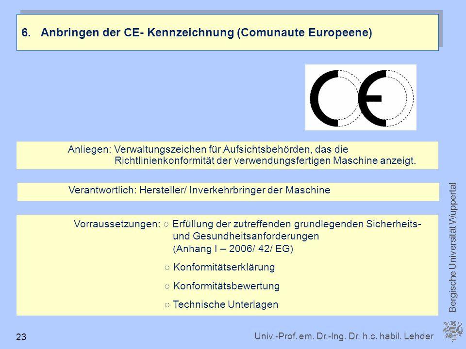 6. Anbringen der CE- Kennzeichnung (Comunaute Europeene)