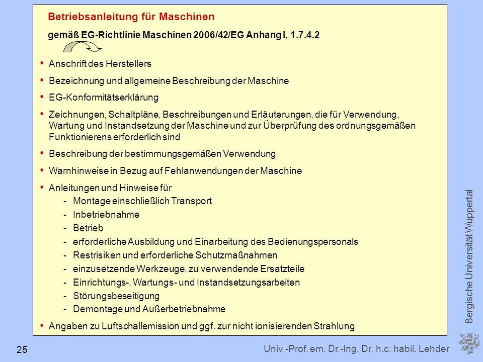 Betriebsanleitung für Maschinen