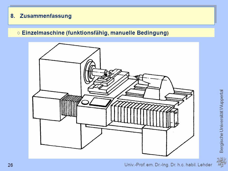 8. Zusammenfassung ○ Einzelmaschine (funktionsfähig, manuelle Bedingung)