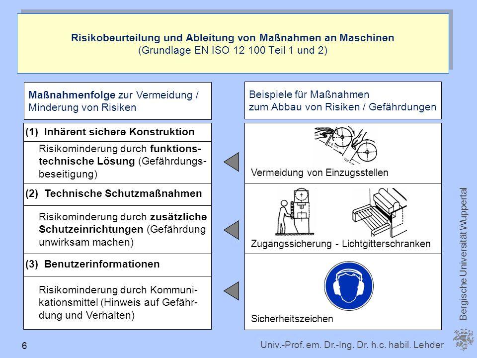 Maßnahmenfolge zur Vermeidung / Minderung von Risiken