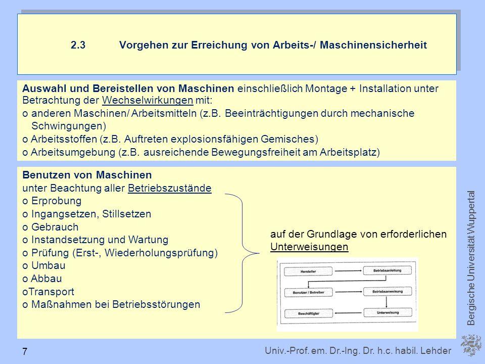 2.3 Vorgehen zur Erreichung von Arbeits-/ Maschinensicherheit