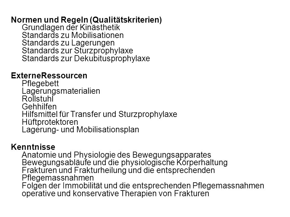 Normen und Regeln (Qualitätskriterien) Grundlagen der Kinästhetik Standards zu Mobilisationen Standards zu Lagerungen Standards zur Sturzprophylaxe Standards zur Dekubitusprophylaxe
