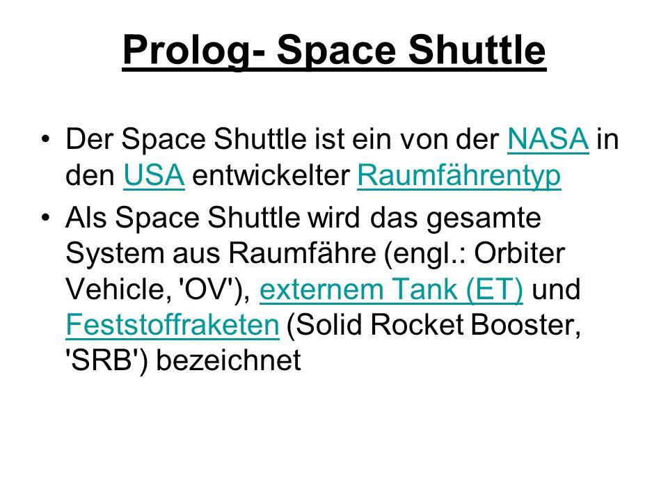 Prolog- Space Shuttle Der Space Shuttle ist ein von der NASA in den USA entwickelter Raumfährentyp.