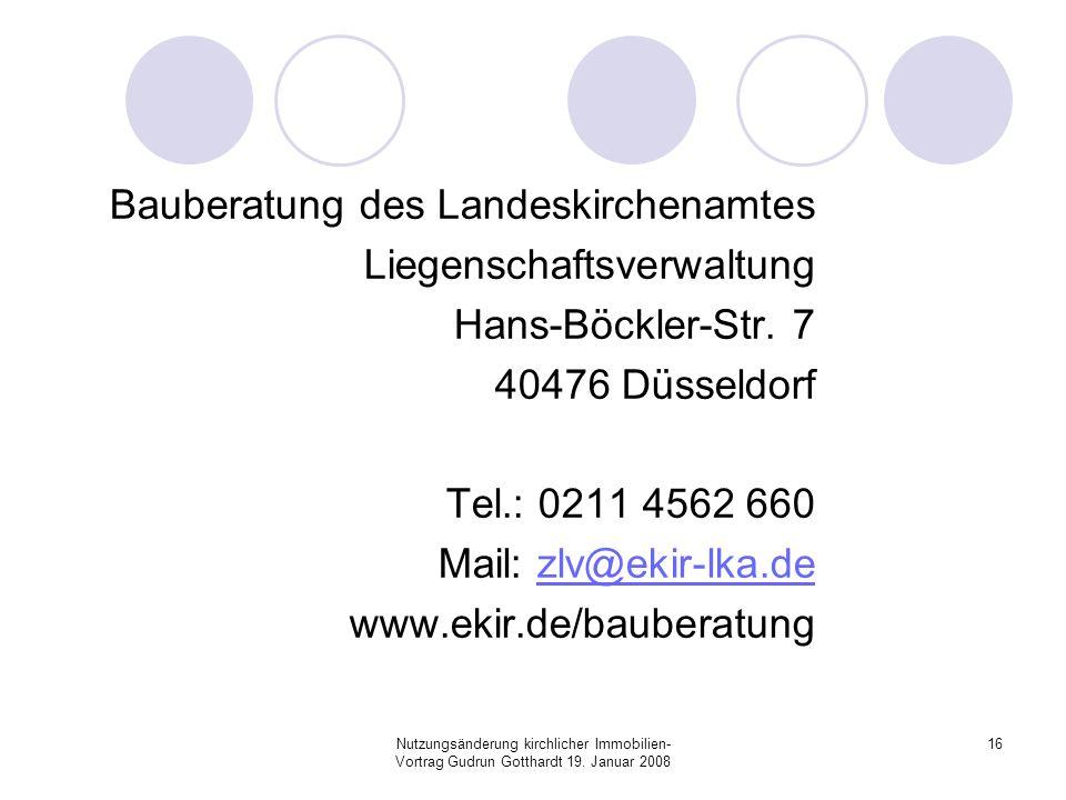 Bauberatung des Landeskirchenamtes Liegenschaftsverwaltung