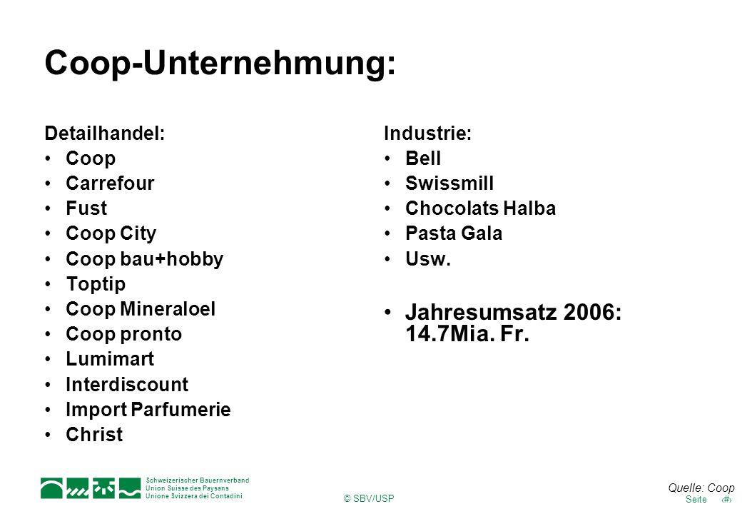 Coop-Unternehmung: Jahresumsatz 2006: 14.7Mia. Fr. Detailhandel: Coop