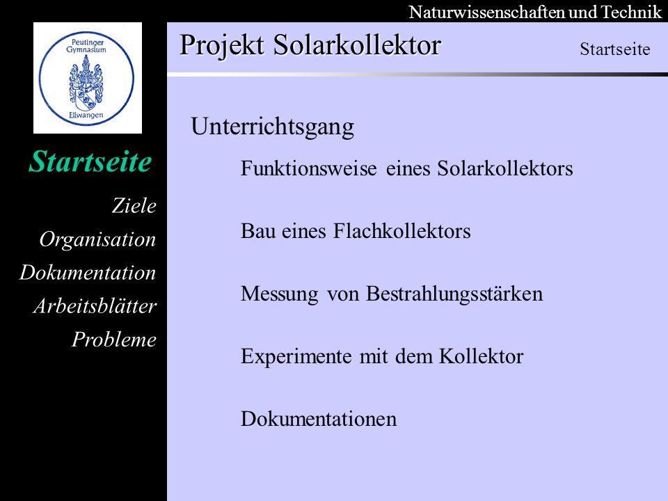 Startseite Unterrichtsgang Funktionsweise eines Solarkollektors